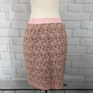 J Crew Pink Lace The Pencil Skirt
